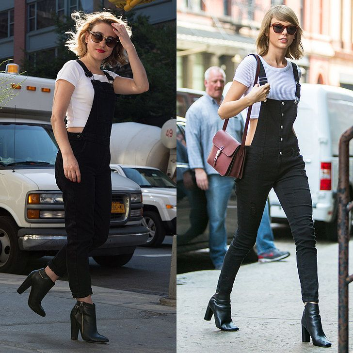 """If there was ever an outfit that screamed Taylor Swift, it would be a black pair of overalls and a white crop top — because that's exactly what happened when I stepped out wearing them."""