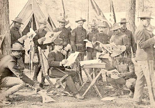 Black troops in the Spanish American War - Image showing literature being distributed to the Black troops