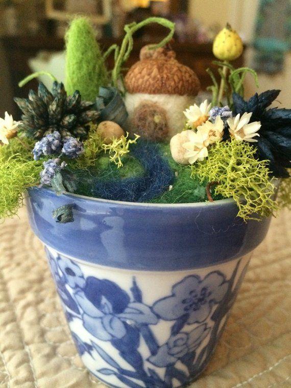 Miniature Fairy Garden In Blue Flower Pot Ooak Needle Felted And