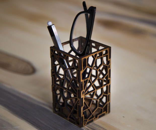 Laser Cut Geometric Pencil Holder