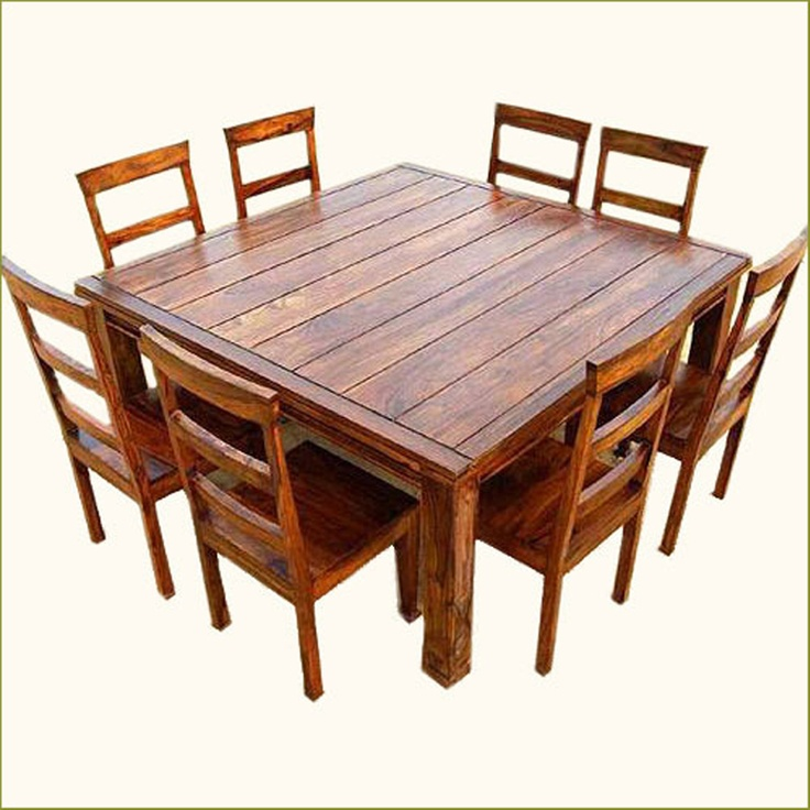 Rustic 9 Pc Square Dining Room Table 8 Person Seat Chairs Set Furniture NEW In Home Garden Sets