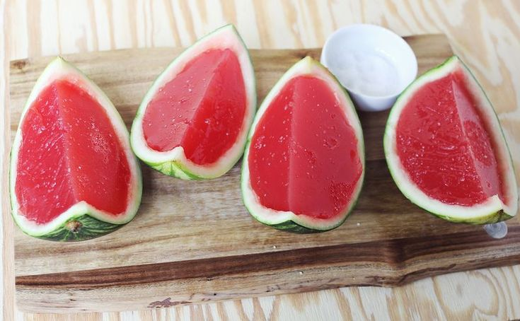 Fresh watermelon jello from A Beautiful Mess. Using unflavored gelatin and the pureed melon, you make the jello.