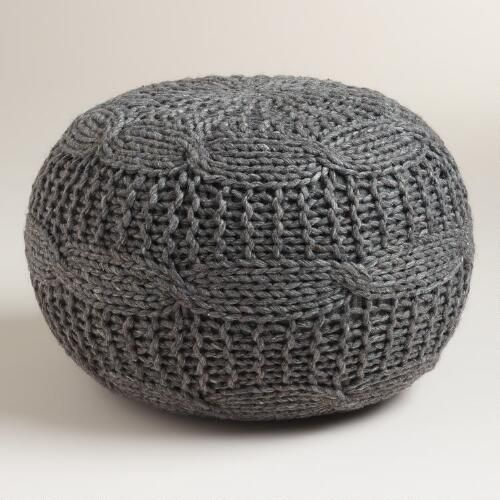One of my favorite discoveries at WorldMarket.com: Charcoal Heather Gray Sweater Pouf