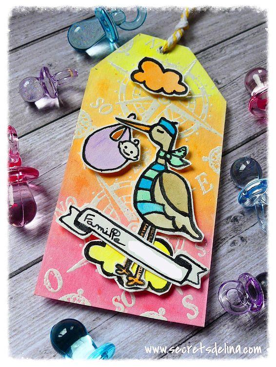 Etiquette tag maternité cigogne naissance bébé aquarelle - stork maternity birth baby watercolor #Secretsdelina