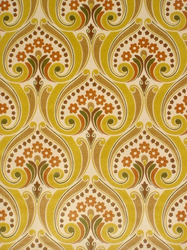 Vintage baroque wallpaper from the late '60s. Amazing color and print, the print gives the expression of chalk.