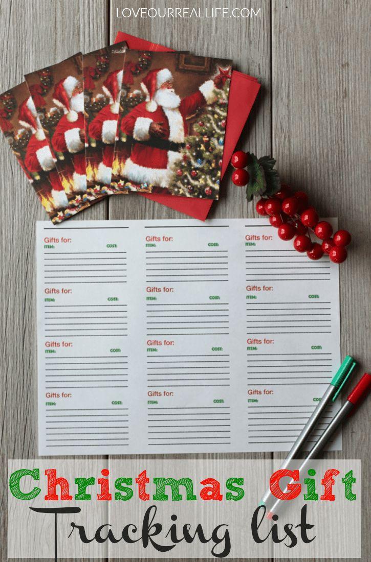 Christmas gift tracker, organization of Christmas gift list, free printable gift tracking list