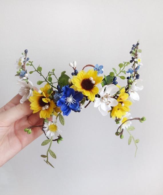 Sonnenblume Haarteil, Sonnenblume Krone, Sonnenblume Haarspange, Braut Kopfschmuck floral, gelb und blau Haare, Sonnenblume Kopfschmuck, Königsblau