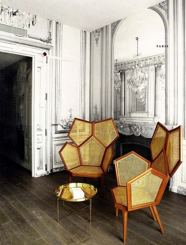 Martin Margiela redecorates La Maison des Centraliens. I'll take the pair of chairs and that goofy wall paper too. #illusion #paris #interior