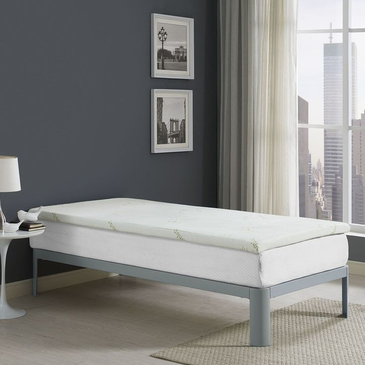 """Relax Twin 2"""" Gel Memory Foam Mattress Topper, White - Welcome extra support with the Relax 2"""" Gel-Infused Memory Foam Topper in Twin. Relax positions underneath most twin-size fitted sheets and features ventilated open-cell technology with gel-infusion to help keep your body climate-steady by dissipating body heat. Designed to relieve stress on pressure points, Relax comes CertiPUR-US(R) certified so you can be confident that the memory foam inside the topper was independently laboratory…"""