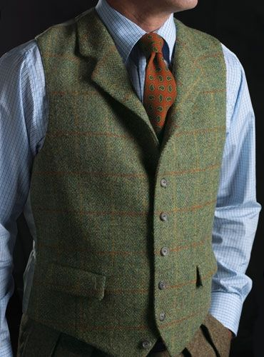 Harris Tweed Windowpane Waistcoat in Green & Orange