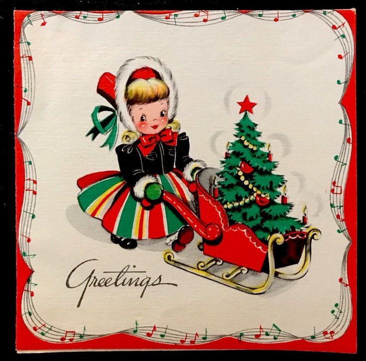 VINTAGE Christmas Card Pretty Girl Fur Hat & Dress Pushing Toy Sled Mini Tree - $2.99. Shipping is $1.99 in the USA Vintage Christmas Card USED: Measurements: See photos for ruler size. See photos please for all condition and quality details. 132426907730