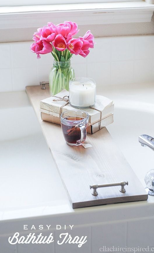 Follow this tutorial to make a beautiful (and easy) bathtub tray!