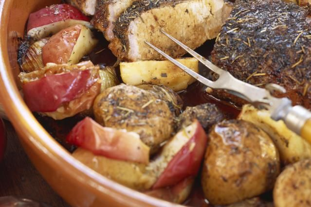 This recipe for pork roast is made with a boneless pork loin roast, potatoes, and a variety of herbs and garlic. It's a wonderful meal for any occasion, an everyday meal or holiday dinner.