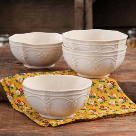 Pioneer Woman - Farmhouse Lace Stoneware Bowl Set in Linen color $35 for 4-Pack set