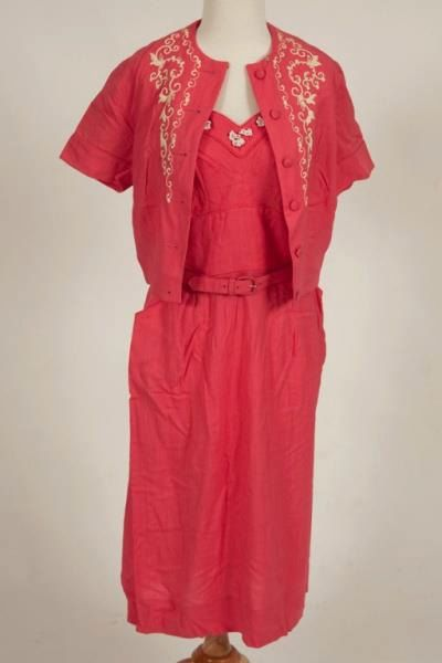 1940's Paula Brooks coral linen sundress and jacket. in Excellent condition. Size 8-10. $199