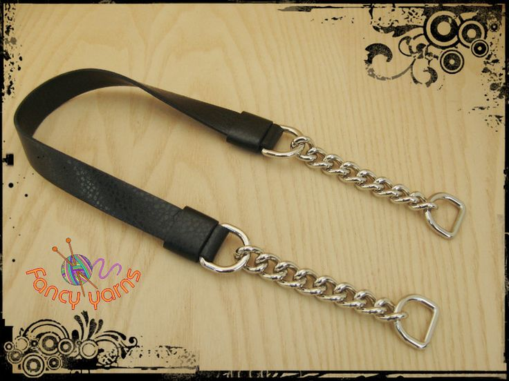 Asas de bolso - manejar para bolso de imitación cuero negro, 58 cm - hecho a mano por FancyYarns en DaWanda