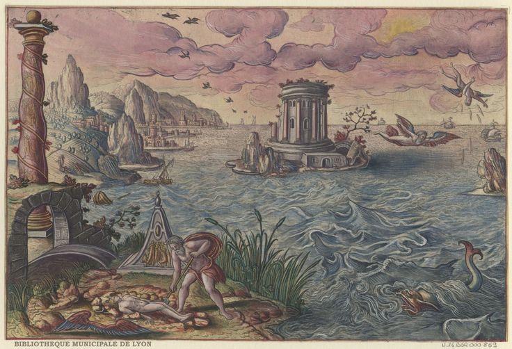 The Fall of Icarus by Peeter van der Borcht, 16th century. Bibliothèque Municipale De Lyon, Public Domain
