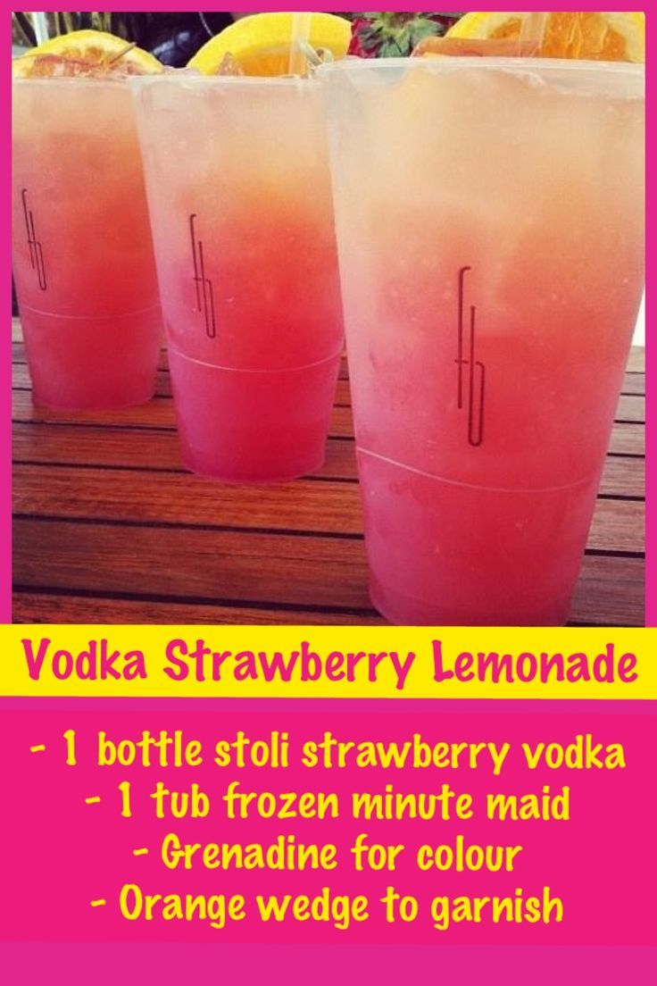 Vodka Strawberry Lemonade- 1 bottle strawberry Stoli vodka, 1 can minute made lime or lemonade, Grenadine to add color and orange, lemon, or lime wedge for garnish #lemonade #vodka #strawberry
