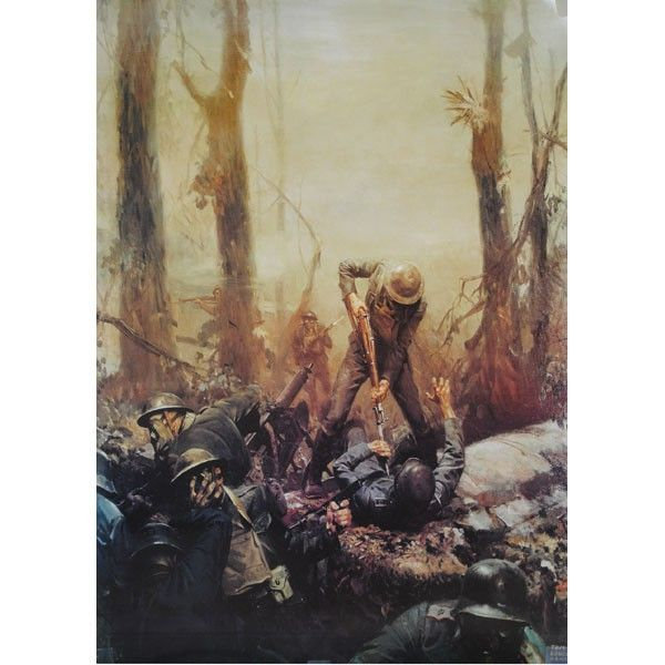 Painting of the Marine Corps battle of Belleau Wood.