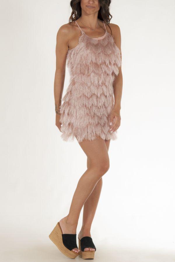 Φόρεμα κοντό με κρόσσια σωμών γυναικείο glamorous