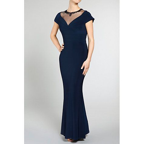 Buy Gina Bacconi Long Fishtail Dress With Beaded Mesh Neckline, Spring Navy Online at johnlewis.com