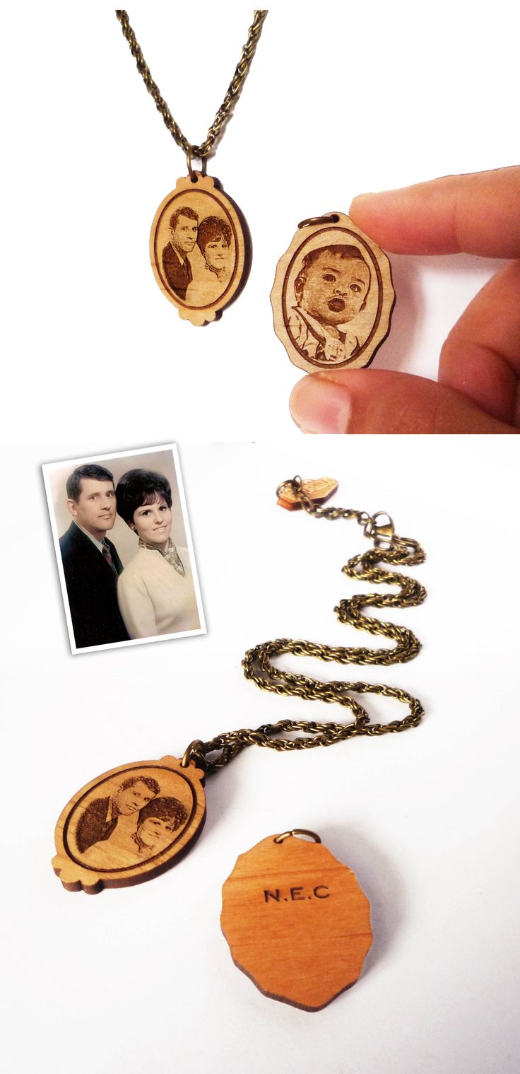 Portrait Necklace (laser engraving) by Vectorcloud.  laser cut, wooden necklace, photo engraving, custom necklace