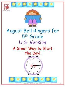Free August Bell Ringers for 5th Grade - 22 language and math prompts to begin each day!
