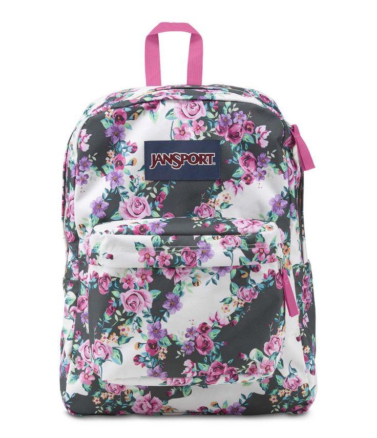 JanSport Superbreak Backpack - Multi Grey Floral Flourish