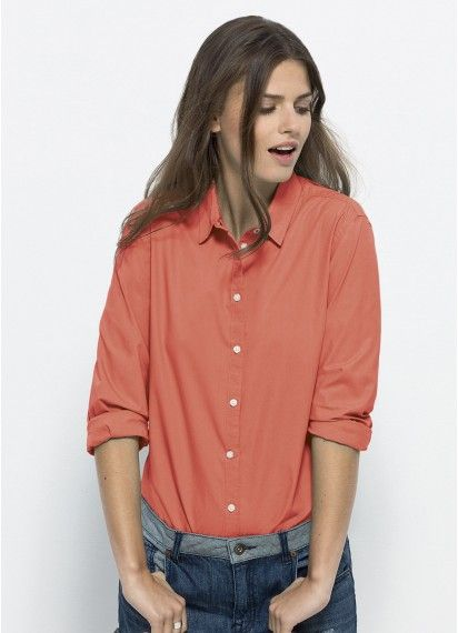 Casual Boss ladies' button-up #tailoredshirt in Apricot. Work and play in cheeky style with this bright and high quality dress shirt. #fairtrade and #organiccotton. Made in Bangladesh.