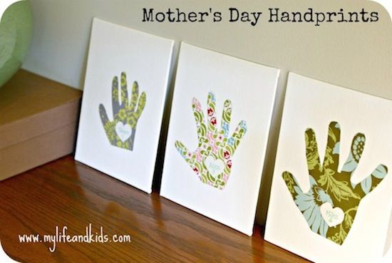 mothers day craft for kids: handprint canvases! Kids can help trace and cut out!