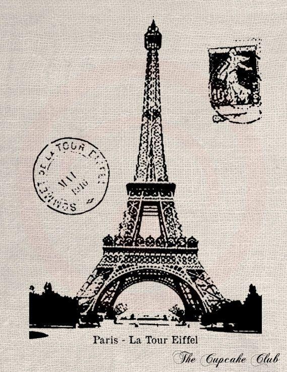 Clip Art Designs Transfer Digital File Vintage Download DIY Scrapbook Shabby Chic Burlap France Paris Eiffel Tower Postal Stamp No. 0377. $1.00, via Etsy.