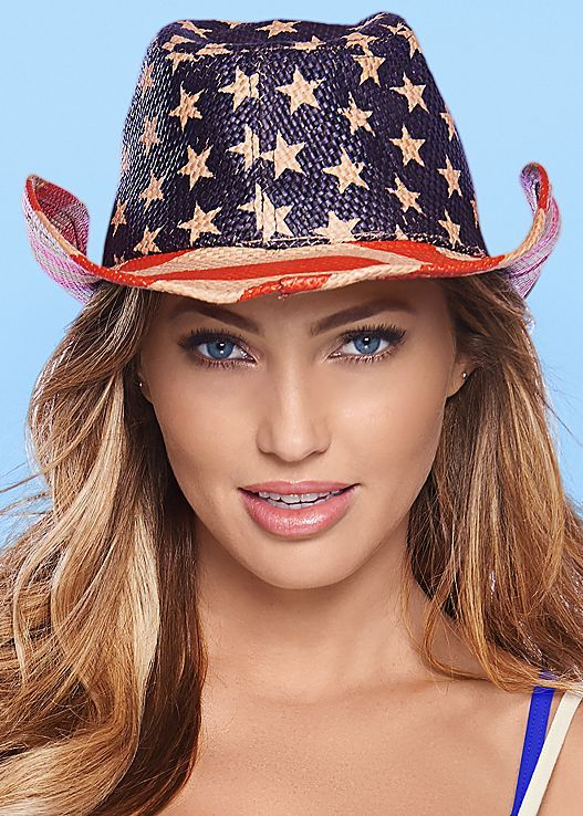 Two of our favorite things combined: America and cowboy hats! Venus Americana cowboy hat.