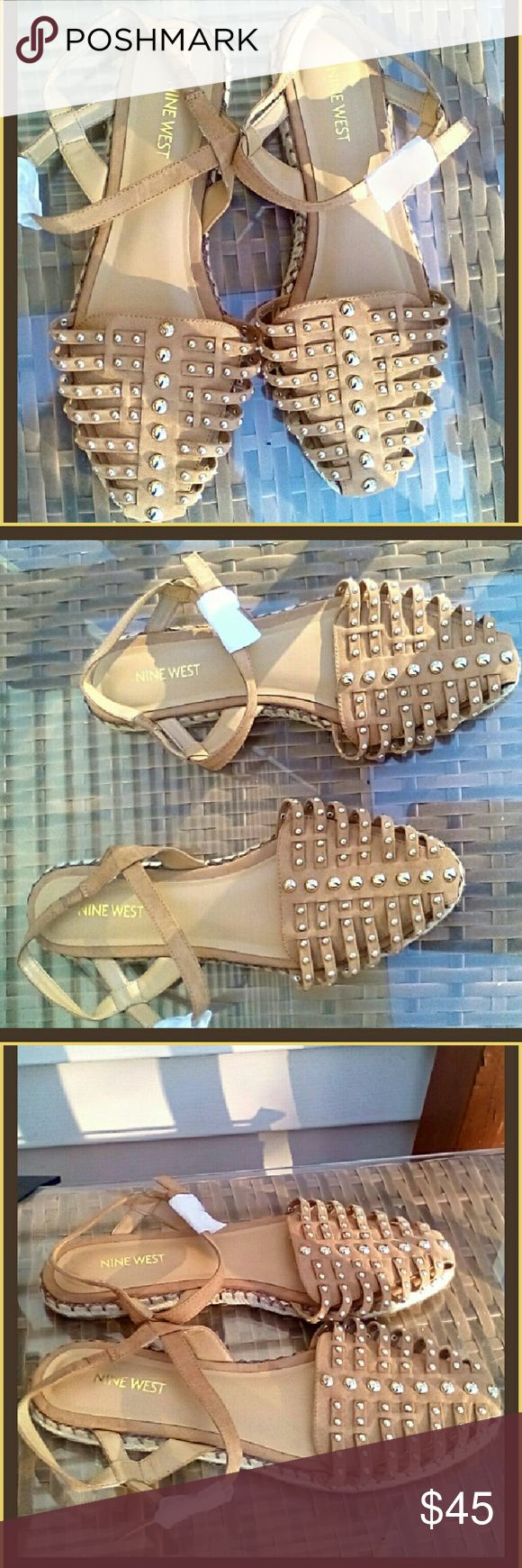 Nine West Leather Espadrille  Studded Sandals NWOT Gold studded leather sandals NBW by Nine West. Only in store to try on indentation where staple was at holding price tag is there. I don't have the inbox but the buckles have remained covered since I bother this Summer. I had bought two pairs these and a pair of pink ones but I never got around to wearing this. They are very comfortable and so fun to wear and go with so many different types of clothing whoever ends up with these will love…