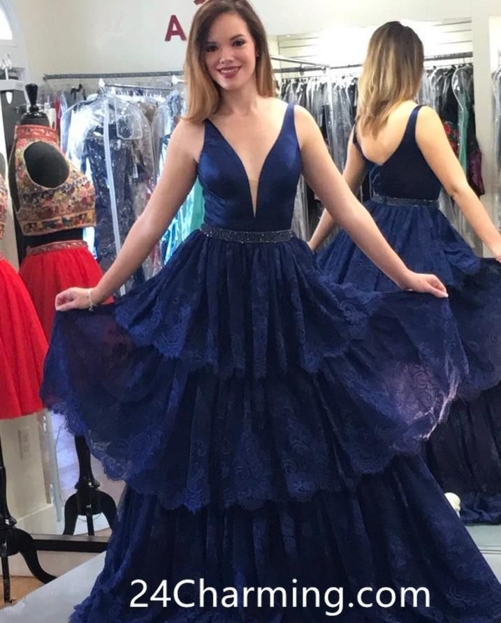 ec82eb44904c4 Navy Blue Lace Prom Dress, Stunning Pageant Dress Open Back | New ...