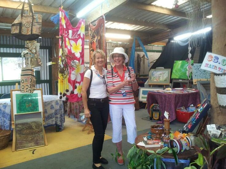 Karin on tour at Daintree Village Market, with a passenger from the #PacificJewel