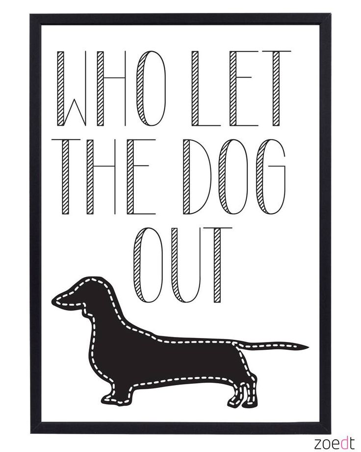 Zoedt Poster met tekst Who let the dog out