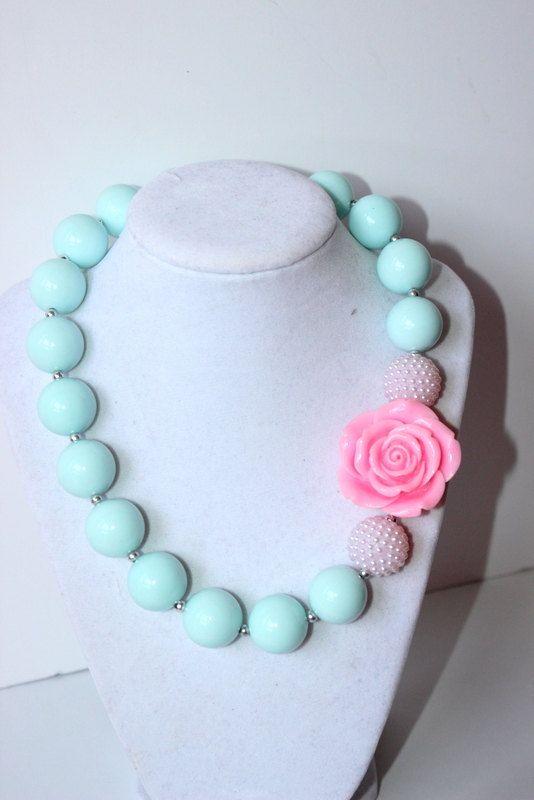 girls chunky necklace bubblegum bead necklace by LightningBugsLane, $15.00