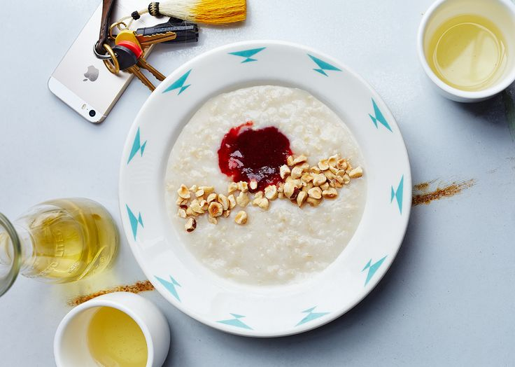 Brown Rice Porridge with Hazelnuts and Jam Recipe - Bon Appétit -At Sqirl, they make almond milk from scratch, which gives the porridge an extra-rich, nutty flavor.