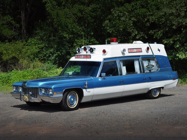 Vintage Cadillac Ambulances - blue and white color ...