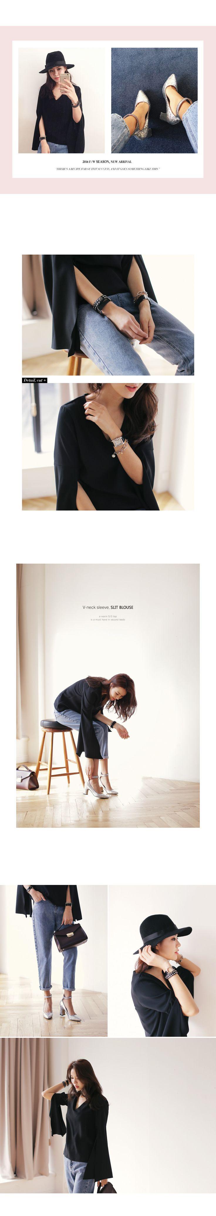 Vネックスリーブスリットブラウス・全3色シャツ・ブラウスシャツ・ブラウス|レディースファッション通販 DHOLICディーホリック [ファストファッション 水着 ワンピース]