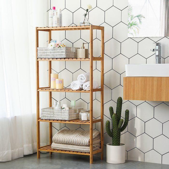 5 Tier Bamboo 130cm H X 60cm W Bathroom Shelf In 2020 Bathroom