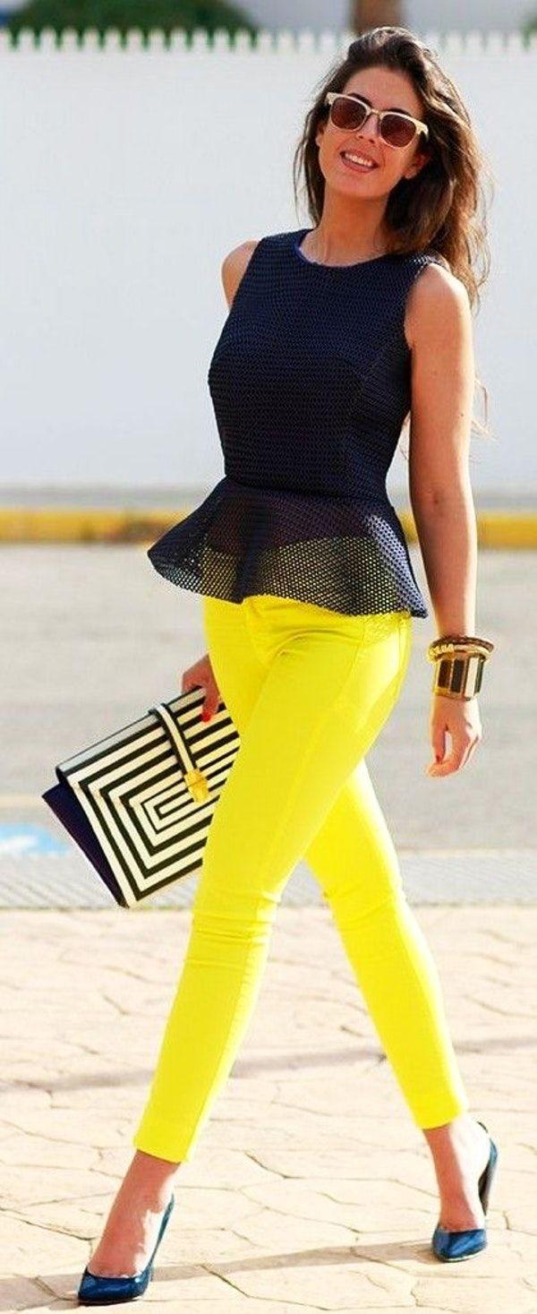 #street #style #spring #2016 #inspiration | Black Peplum Top   Bright Yellow Pants | 1sillaparamibolso