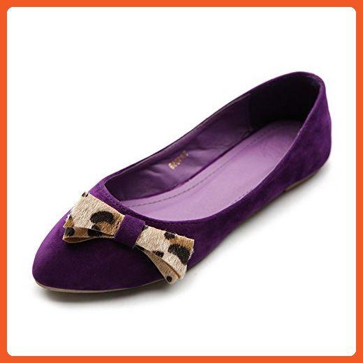 Ollio Women's Ballet Shoe Faux Suede Ribbon Accent Multi Color Flat ZM1059(7 B(M) US, Purple) - Flats for women (*Amazon Partner-Link)
