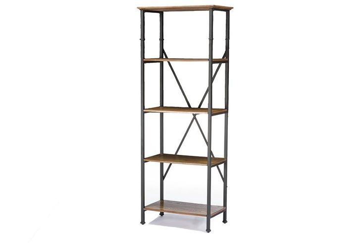 Baxton Studio Lancashire Brown Wood & Metal Bookcase