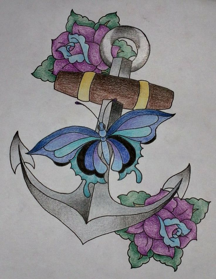 Colorful Anchor Flowers Tattoo Ideas - http://tattoosaddict.com/colorful-anchor-flowers-tattoo-ideas.html #anchor, anchor tattoos, colorful, flowers, ideas, tattoo