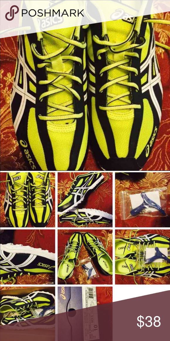 NIB ASICS TRACK NEON YELLOW SHOES Size 10 Asics Shoes Athletic Shoes