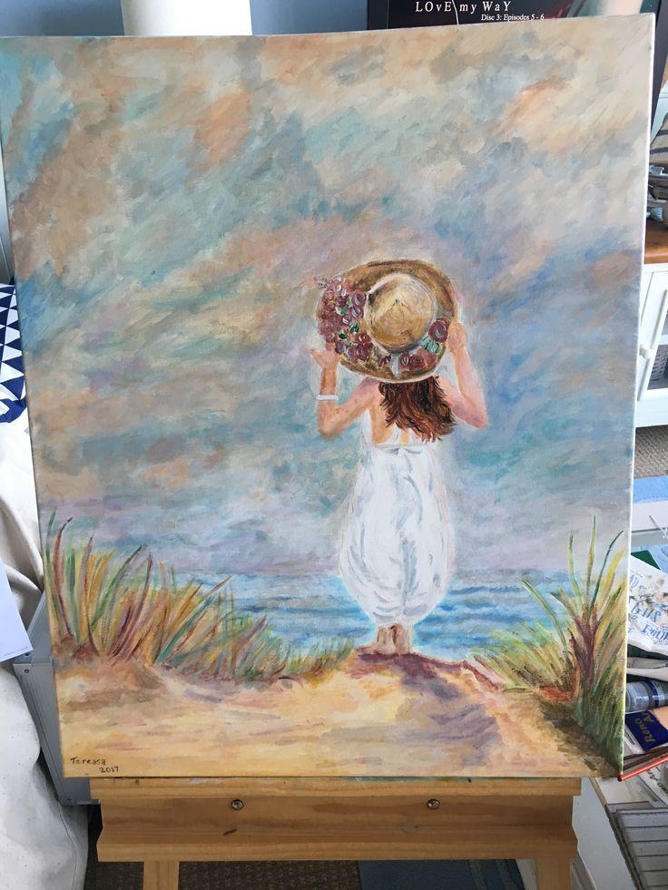 I love this little girl I painted looking out to sea, standing on the sand.