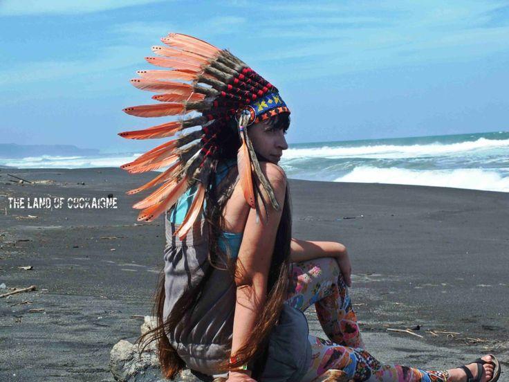 SALE! Pale Orange Warbonnet Native American inspired Headpiece, Edm Headdress, Plur Warriors,  Feather headpiece, Indian style headdress by TheLandOfCockaigne on Etsy