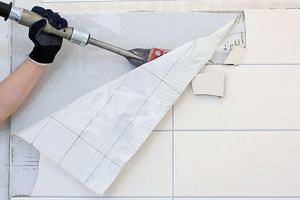"""Räumchen wechsel dich. """"Wiederaufnahmesysteme"""": Boden- und Wandbeläge schnell und sauber austauschen Zwei Gewebelagen, die Untergrund und Belag trennen, machen zum Beispiel die Demontage alter Fliesen ohne viel Lärm und Staub möglich. Foto: ..."""