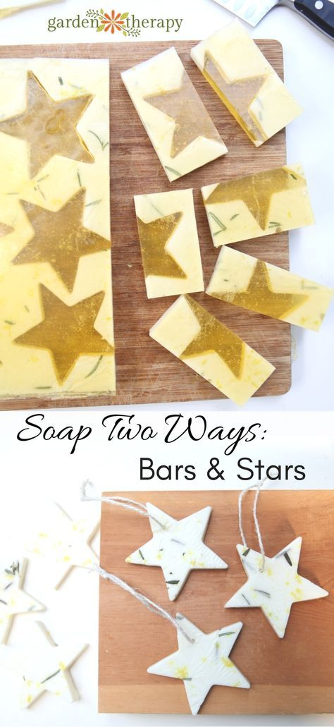 Stars and bars? Yes! Two kinds of melt and pour soap come out of this one project. First, you will cut out soap stars and when that process is finished you'll add another soap to fill in the holes and create decorative soap bars.